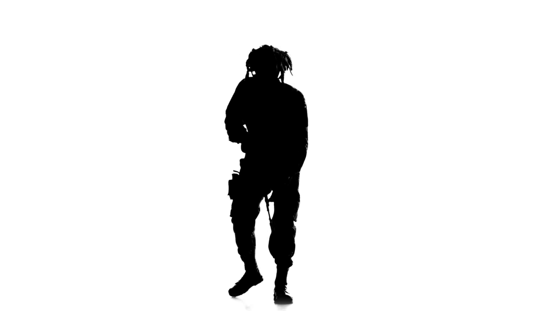 1920x1080 Soldier Stands On One Knee And Aiming A Gun. Silhouette Stock