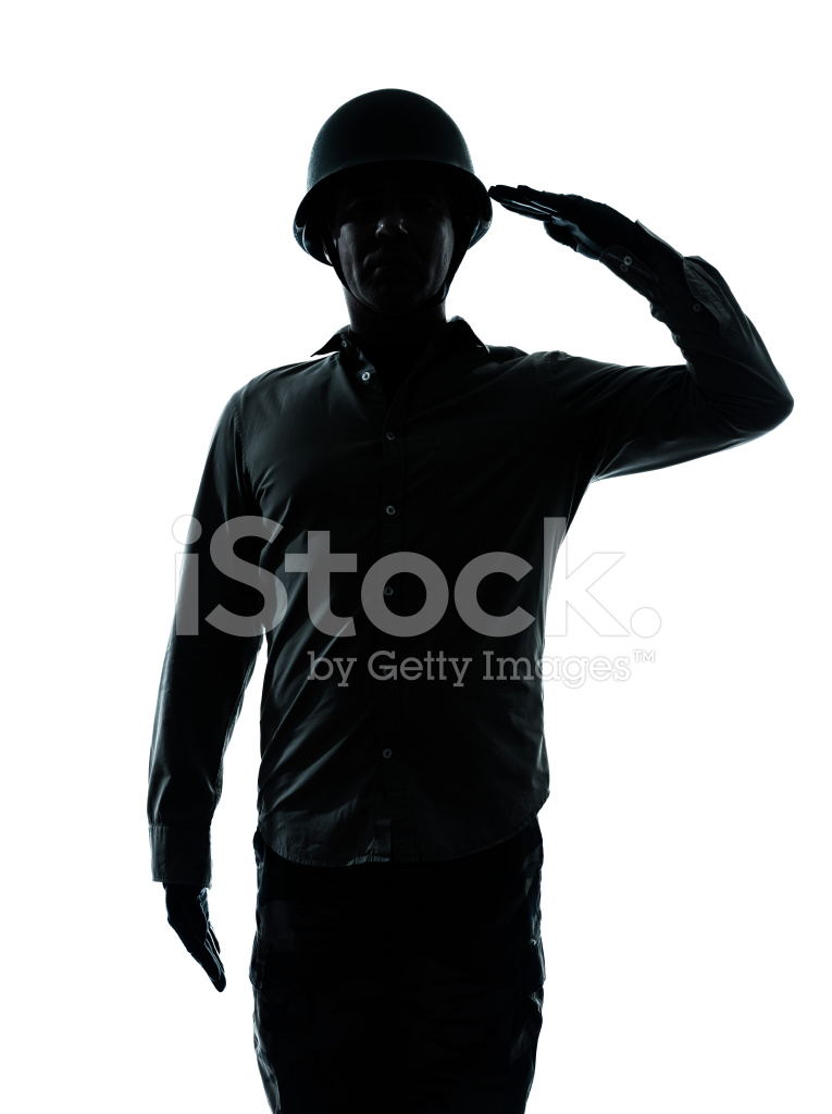 765x1024 Silhouette Of A Soldier Saluting To American Flag Stock Photos