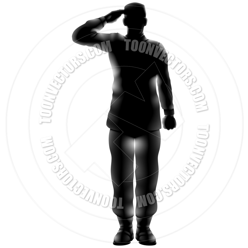 940x940 American Soldier Saluting Silhouette By Geoimages Toon Vectors