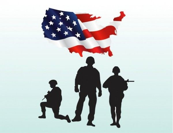 600x459 Us Military Soldiers Silhouette Amp Flag Vector Graphic