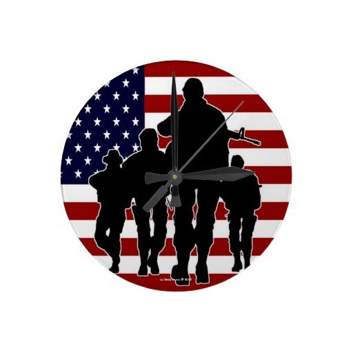 512x512 Usa Flag Marching Soldiers Silhouette Wall Clock Soldier