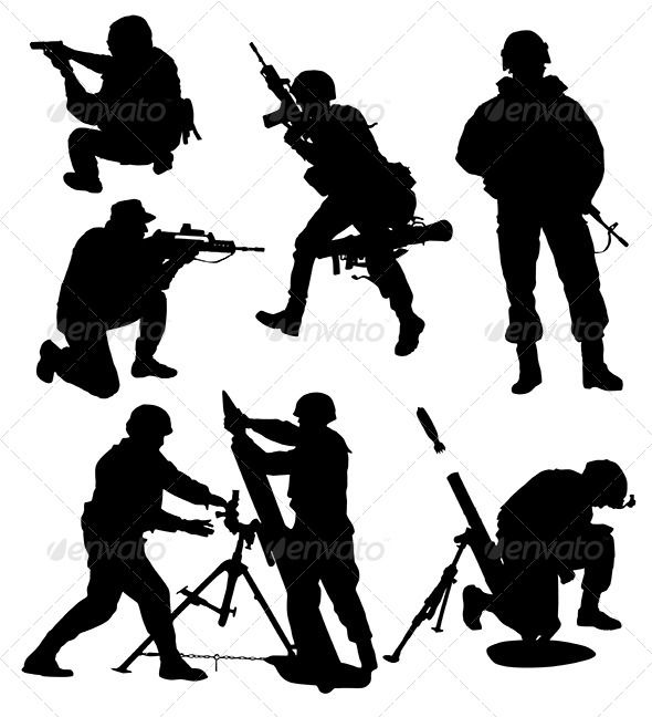 590x648 Armed Soldier Silhouette Soldier Silhouette, Silhouettes And Arms