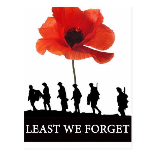 540x540 Least We Forget Soldiers Marching Postcard