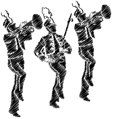 380x400 Marching Band Silhouette Clipart