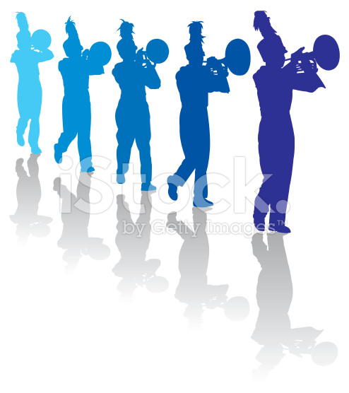 494x556 Marching Band Silhouette Clipart