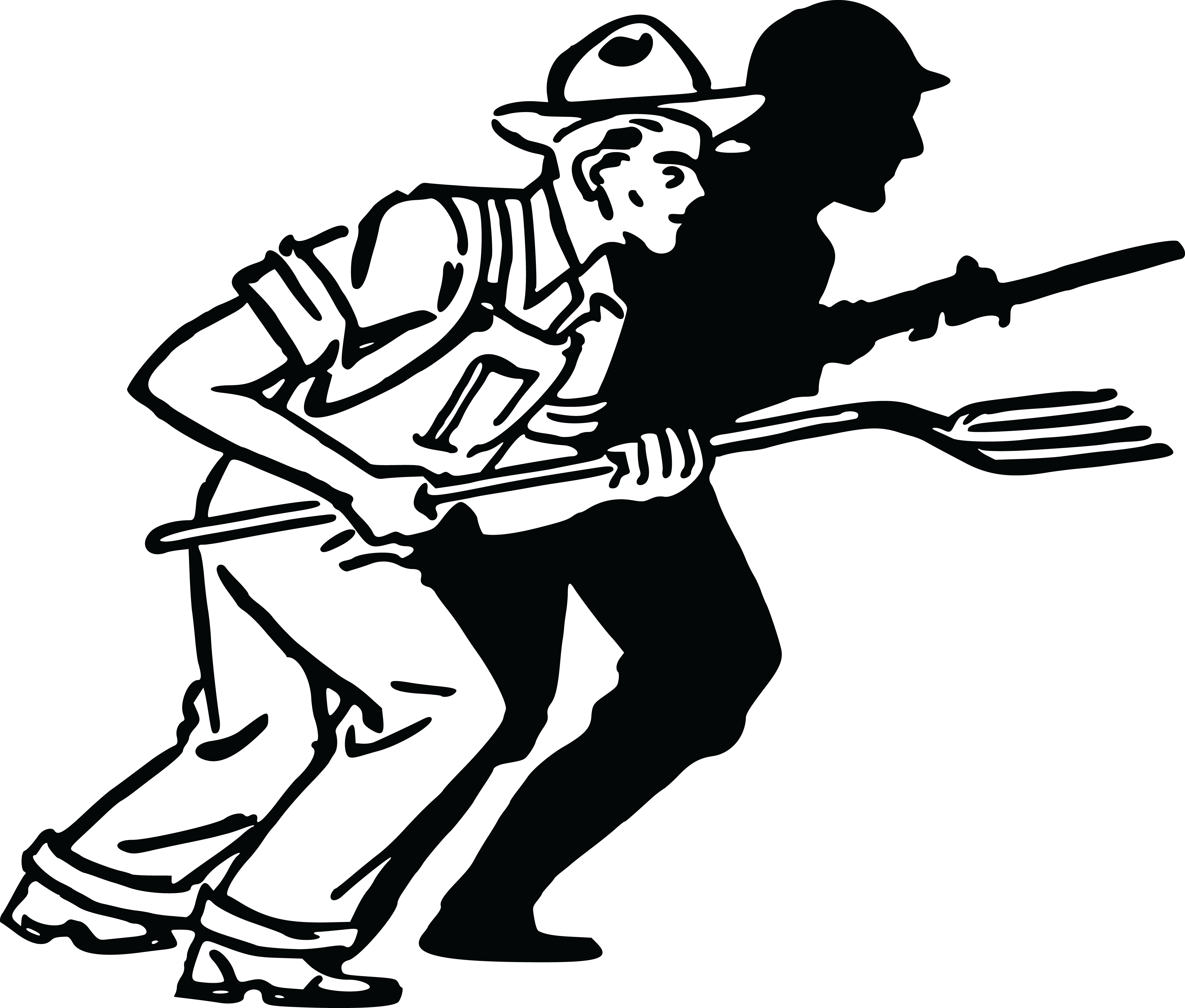 4000x3400 Free Clipart Of A Silhouetted Soldier And Farmer
