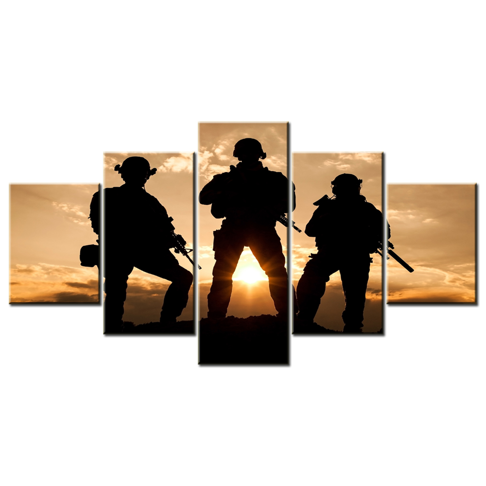1000x1000 Prints Military Canvas American Army Troops Silhouettes Photos