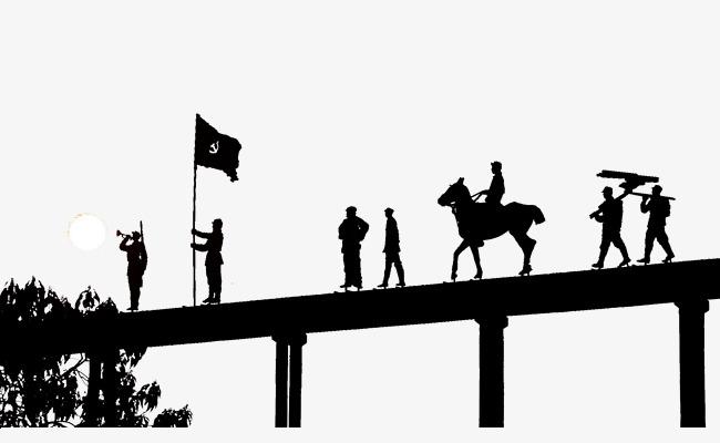 650x400 Silhouette Of Soldiers March Across The Bridge, Bridge, Long