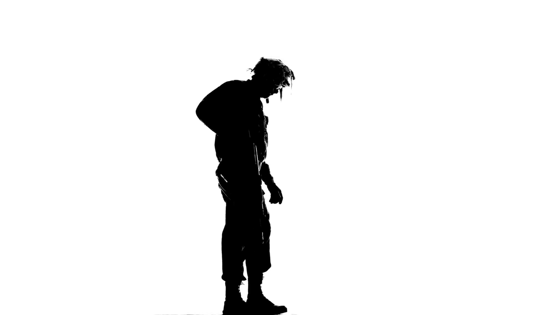 1920x1080 Soldier With A Gun On His Back. Silhouette Stock Video Footage
