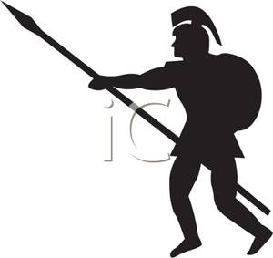 300x283 And White Silhouette Of A Roman Soldier With A Spear And Shield