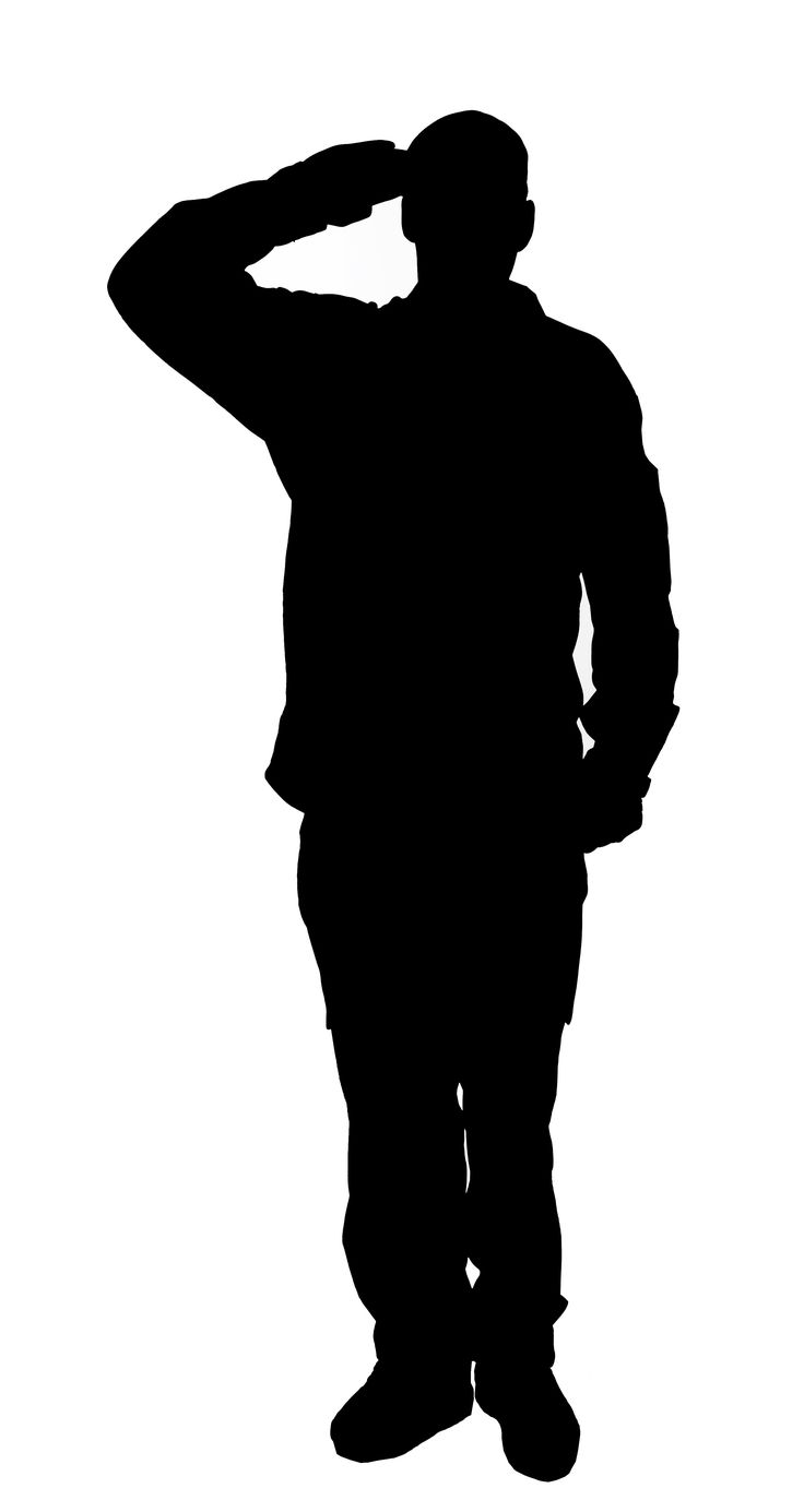 736x1385 Saluting Army Soldier's Silhouette Isolated On White (Memorial Day