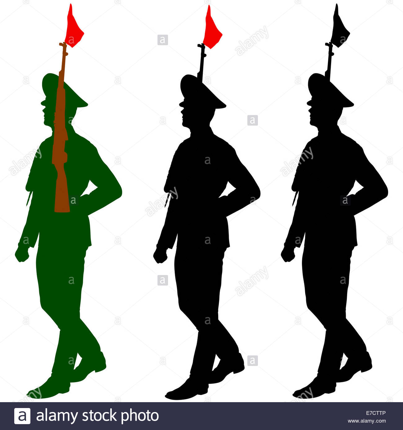 1300x1390 Silhouette Soldiers During A Military Parade. Vector Illustratio