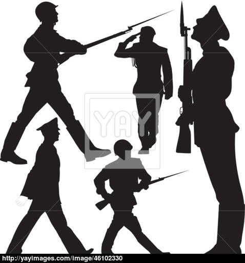 478x512 Soldiers Marching And Sentry Guard Vector Silhouettes Vector