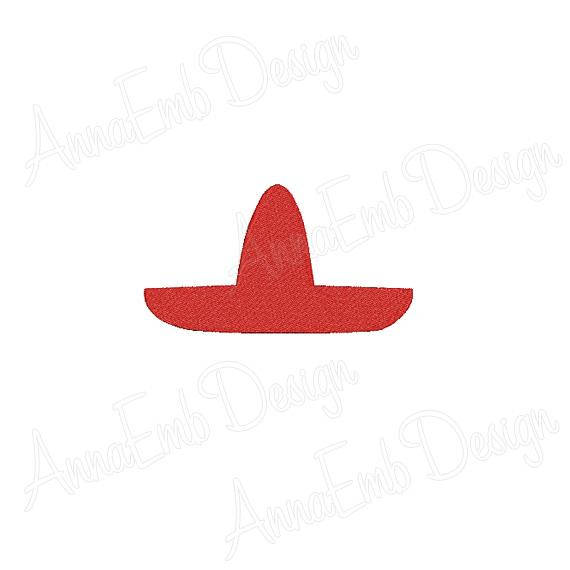 570x570 Sombrero Embroidery Design. Mexican Hat Embroidery Design.
