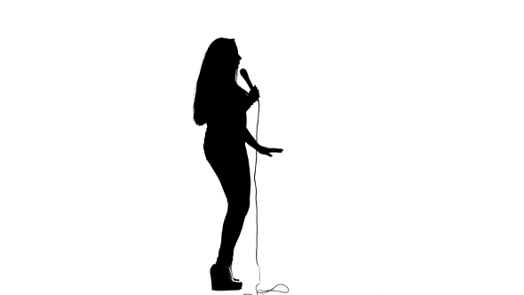 590x332 Singer Dances To The Beat Of Her Song. White Background