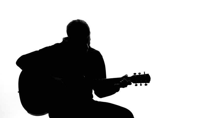 852x480 Young Man Silhouette Tuning Up Guitar, Professional Writing Song