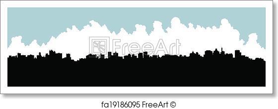 560x219 Free Art Print Johannesburg Skyline. Skyline Silhouette