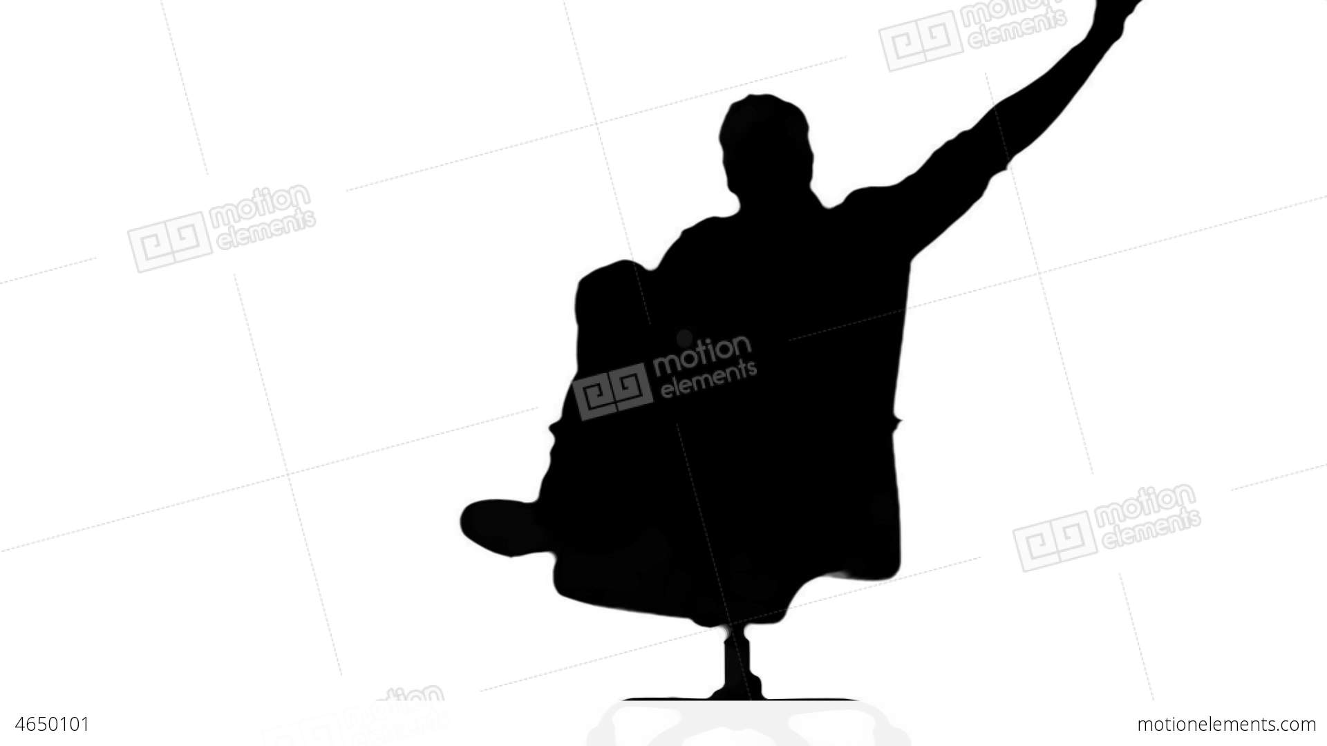 1920x1080 Silhouette Of Man Turning Of Swivel Chair On White Stock Video