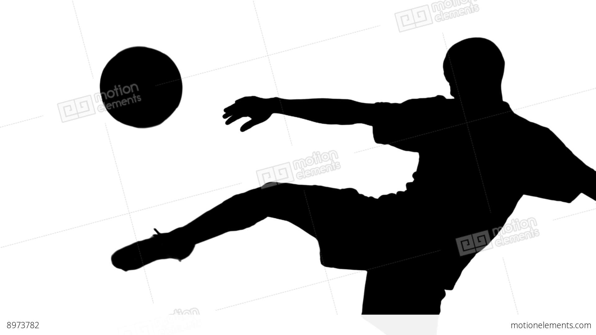 1920x1080 Silhouette Of Soccer Player Kicking Ball Stock Video Footage 8973782