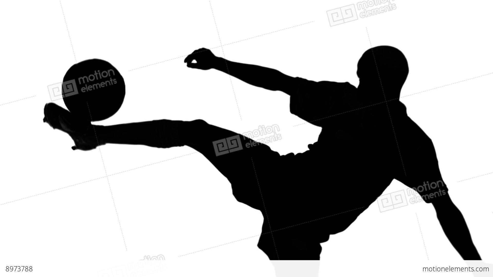 1920x1080 Silhouette Of Soccer Player Kicking Ball Stock Video Footage 8973788