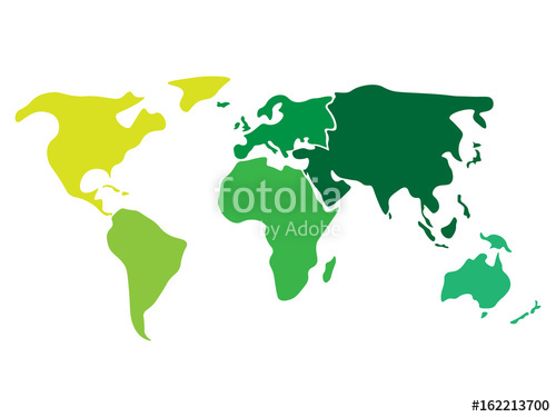 500x375 Multicolored World Map Divided To Six Continents In Different