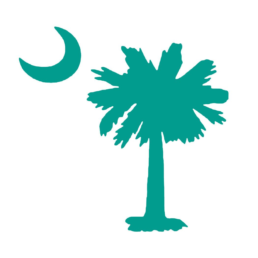 1050x1050 Teal Nation Palmetto Tree Decal