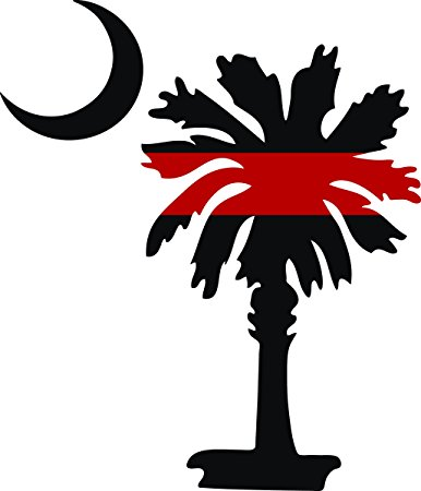 386x450 South Carolina Palmetto Moon Fire Fighter Thin Red