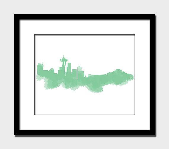 570x502 Seattle Skyline Modern Wall Art Home Decor Art Print Space Needle