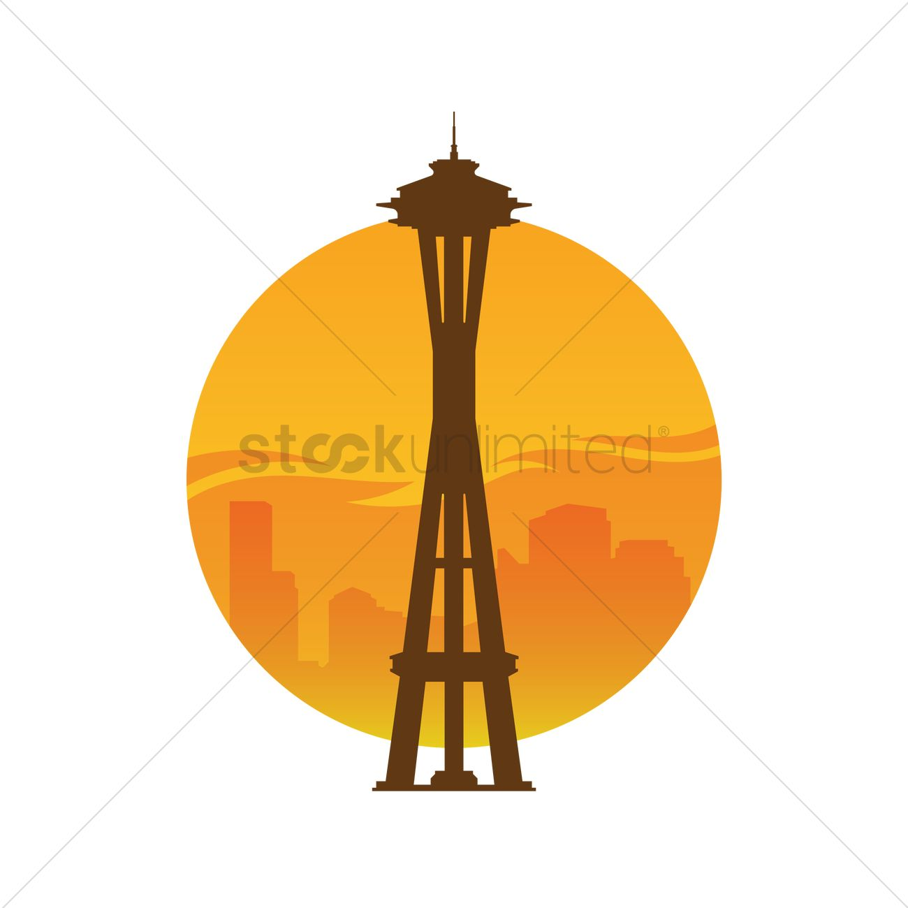 1300x1300 Space Needle Tower Vector Image