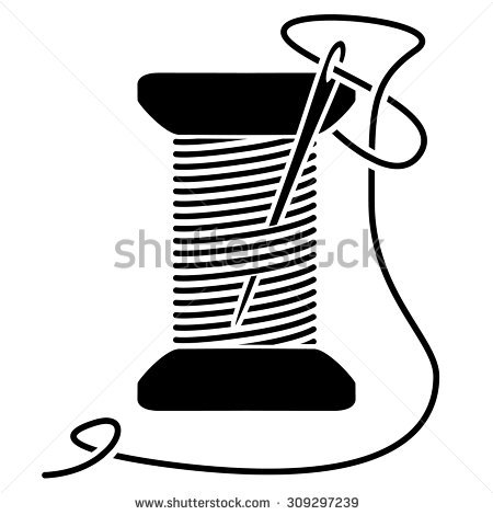 450x470 Needle And Thread Clipart Black And White