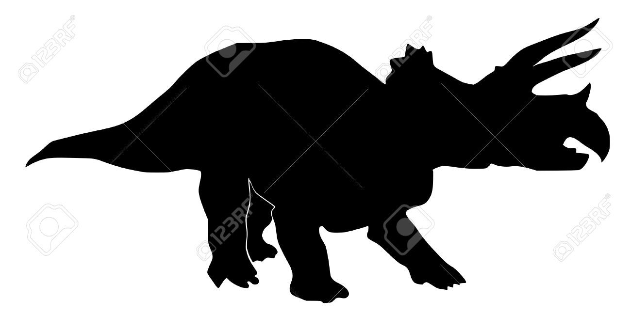 1300x650 An Illustration Of Black Silhouette Of Triceratops Royalty Free