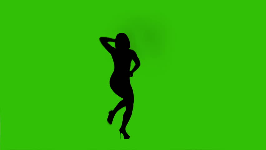 852x480 Silhouette Of Dancing Female On A Green Background. High Heels
