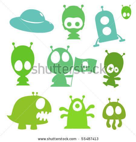 450x470 Stock Vector Collection Of Cartoon Aliens, Monsters