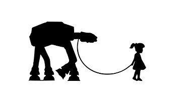 355x207 Girls Room Star Wars Robot At At Wall Decal Childs