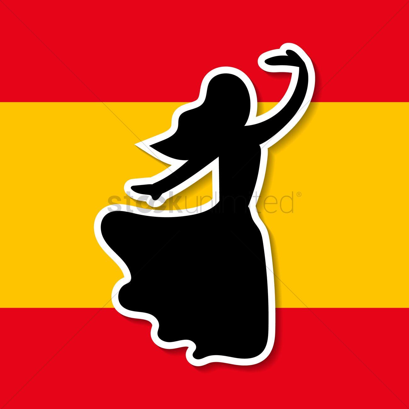 1300x1300 Spain Flag And Flamenco Dancer Vector Image