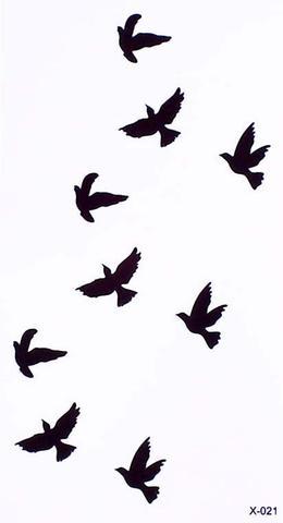 260x480 Chenoa Flying Bird Sparrow Silhouette Temporary Tattoo Mybodiart