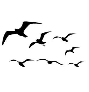 307x318 Seagull Wall Decal, Flying Birds Sticker, Sea Bird, Flock Decal