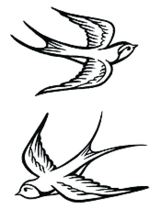 520x713 Traditional Outline Sparrow Tattoo Design By Sparrow Bird Outline