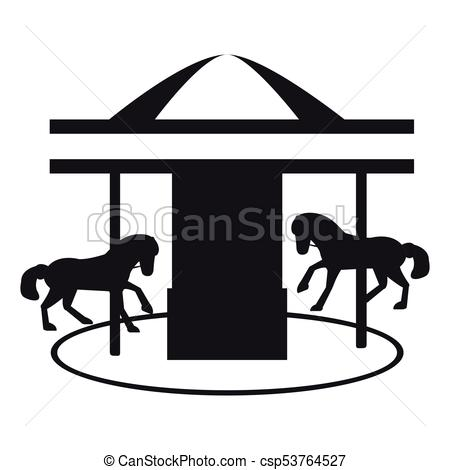 450x470 Isolated Carousel Silhouette. Carousel Silhouette On A White