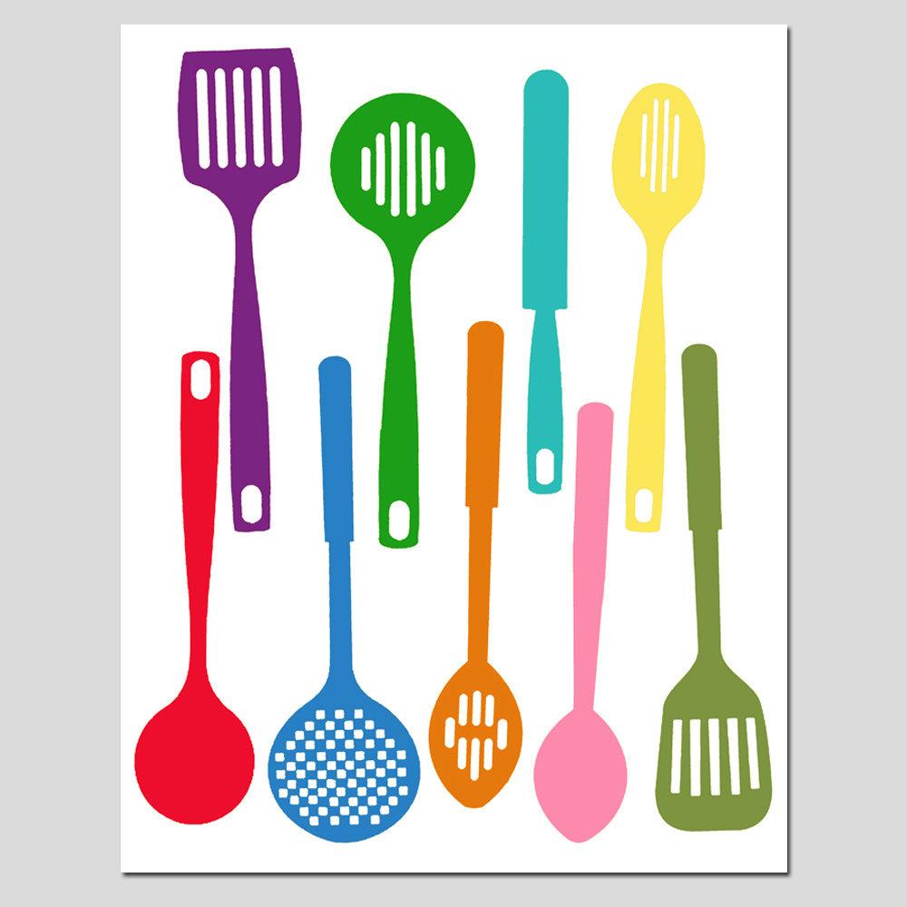 1000x1000 Kitchen Utensils Spatula Collection 11x14 Silhouette Print