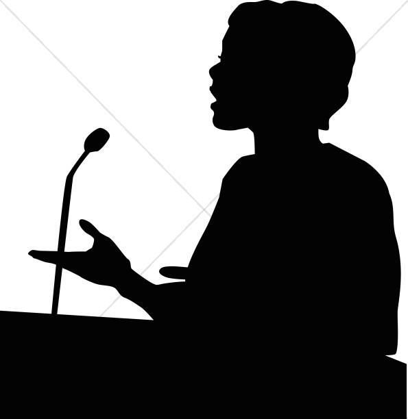 595x612 Female Speaker In Silhouette Church People Clipart