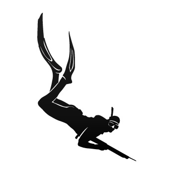 350x350 Spearfishing Diver Decal (Simple Color Vinyl) 01843 Design George
