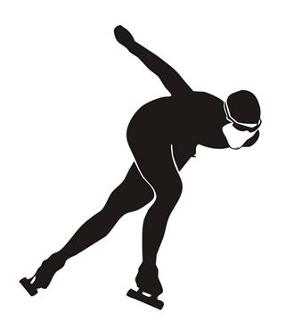285x330 Speed Skater Silhouette 7 Decal Sticker