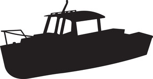 300x156 Fishing Boat Silhouette Royalty Free Stock Image