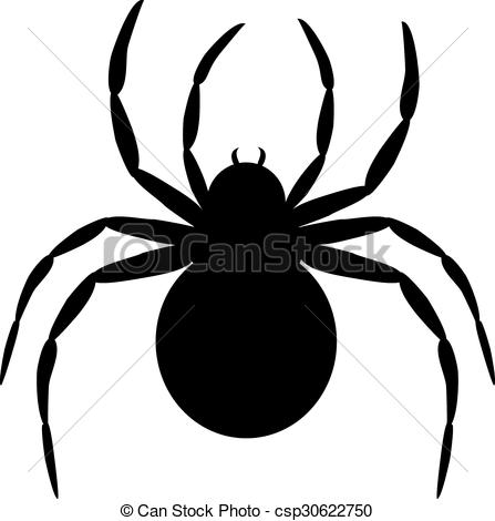 447x470 Silhouette Of Black Spider Isolated On White Clipart Vector
