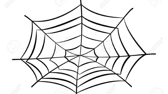 570x320 Spider Web Cartoon Drawing Silhouette Of Spider In Web