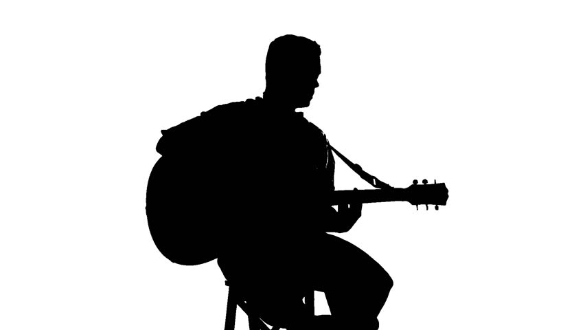 852x480 Silhouette Of Sitting Man Playing The Guitar On White Background
