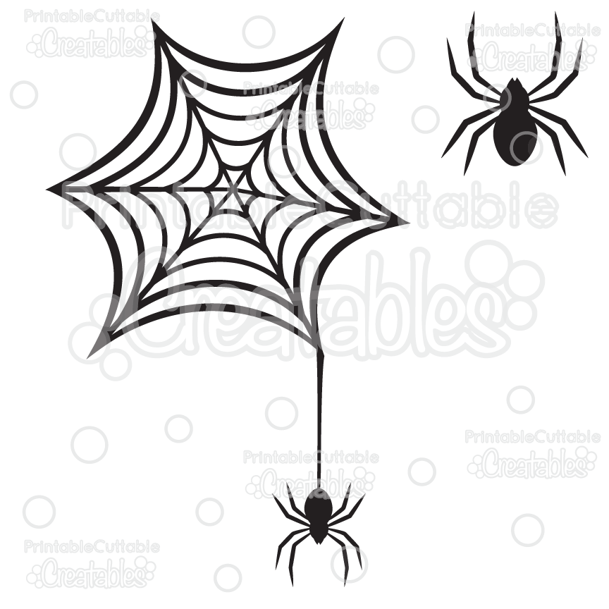 864x864 Creepy Spiderweb Spider Free Svg Cutting File Amp Clipart