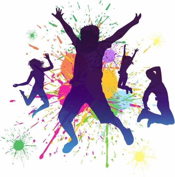 558x566 Boys jumping against a paint splatter background. Free vector in