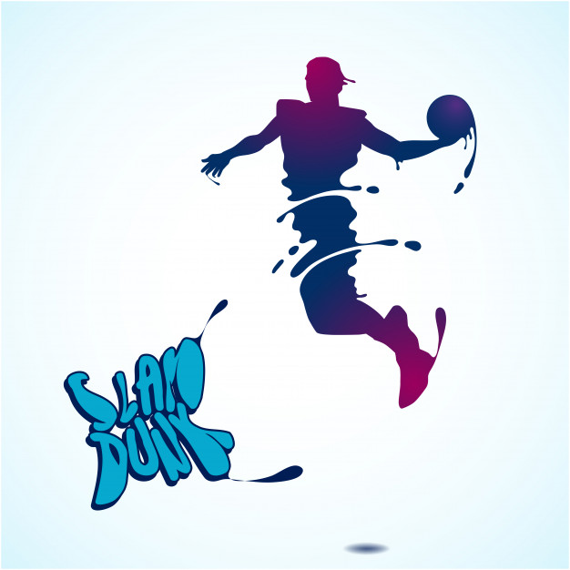 626x626 Basketball slam dunk splash silhouette Vector Premium Download